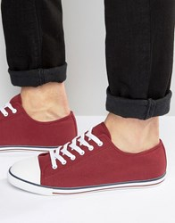 Asos Lace Up Plimsolls In Burgundy Canvas With Toe Cap Burgundy Red