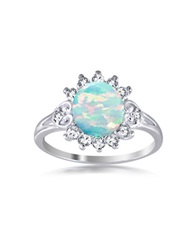 Lord And Taylor Opal And Sterling Silver Flower Ring Blue