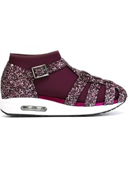 Susana Traca Glitter Cage Sneakers Pink And Purple