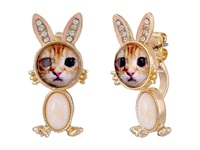Betsey Johnson Costume Critters Bunny Front Back Earrings Pink Earring