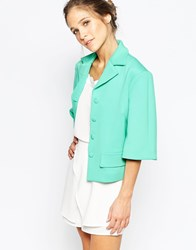 Traffic People Move Over Cropped Jacket Green