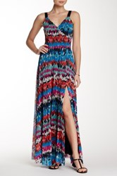 Weston Wear Constance Sleeveless Surplice Printed Maxi Dress Multi