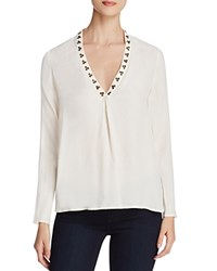 Scotch And Soda Embellished V Neck Blouse Off White