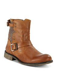 Steve Madden Embossed Leather Buckle Boots Brown