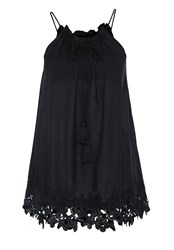 Hallhuber Top With Embroidered Hemline Black