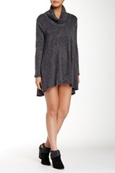 Paper Crane Long Sleeve Cowl Neck Trapeze Dress Gray