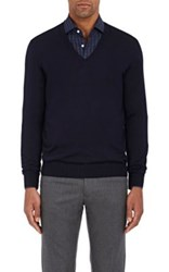 Cifonelli Men's Cashmere Silk V Neck Sweater Navy