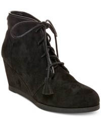 Madden Girl Dally Lace Up Wedge Booties Women's Shoes Black