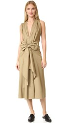 Tome Sleeveless Draped Dress Khaki