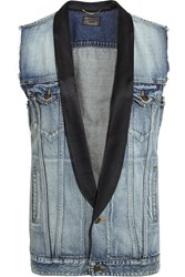 Saint Laurent Satin Trimmed Denim Vest Mid Denim
