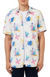 Topman Men's Trim Fit Hawaiian Print Short Sleeve Woven Shirt
