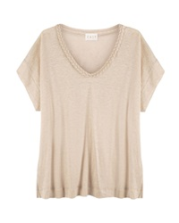 East Plait Detail Linen Top Beige