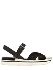 Hogan 30Mm 222 Suede And Leather Sandals Black