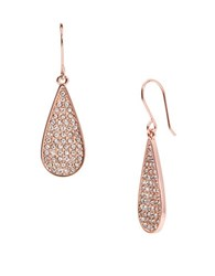 Lauren Ralph Lauren Small Pave Hoop Teardrop Earrings Rose Gold