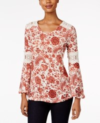 Styleandco. Style Co. Printed Crochet Trim Top Only At Macy's Rich Auburn Combo