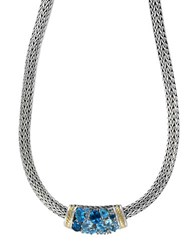 Effy Multi Blue Topaz Sterling Silver And 18K Yellow Gold Necklace