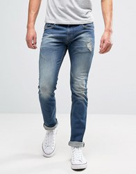 Diesel Thavar Slim Jeans 855U Mid Distressed Mid Distressed Blue