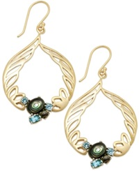 Sis By Simone I Smith 18K Gold Over Sterling Silver Earrings Abalone And Blue Crystal Angel Wing Drop Earrings