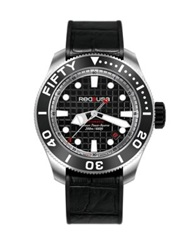 Red8usa Fifty Automatic Stainless Steel And Alligator Embossed Rubber Strap Watch Black Silver