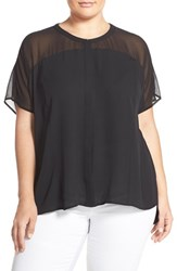 Plus Size Women's Sejour Sheer Yoke Round Neck Blouse