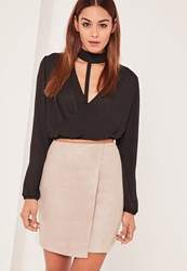 Missguided Nude Faux Suede Asymmetric Wrap Mini Skirt Tan