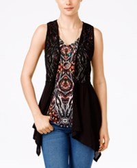 Self Esteem Juniors' 3Fer Crochet Vest With Tank And Necklace Black