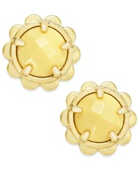 Kate Spade New York Gold Tone Round Stone Scalloped Edged Stud Earrings Yellow