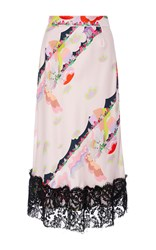 Cynthia Rowley Magic Clouds Lace Trim Skirt Pink
