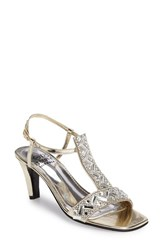Love And Liberty Women's Crystal Embellished T Strap Sandal Platinum Faux Leather