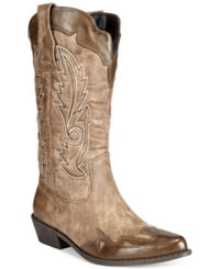Dolce By Mojo Moxy Quiggly Western Cowboy Boots Women's Shoes Natural