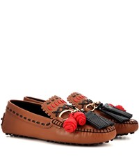 Tod's Infilature Gipsy Catena Leather Moccasins Brown