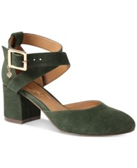 Nanette Lepore By Demi Two Piece Block Heel Pumps Women's Shoes Hunter Green