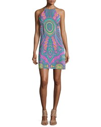 Alice And Trixie Riviera Printed Silk Halter Dress Shamrock 146