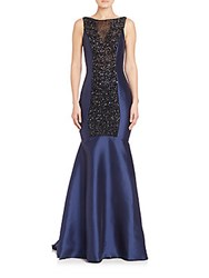 Pamella Roland Beaded Tulle And Mikado Satin Mermaid Gown Navy