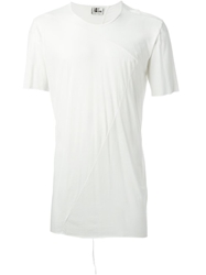 Lost And Found Panelled Raw Seam T Shirt White