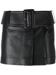 Givenchy Belted Leather Mini Skirt Black