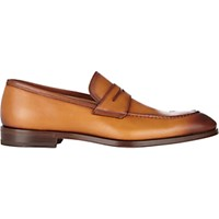 Barneys New York Men's Apron Toe Penny Loafers Tan