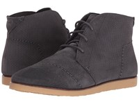 Toms Mateo Chukka Bootie Castlerock Grey Suede Embossed Women's Lace Up Boots Brown
