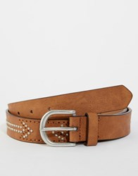 Asos Belt In Tan With Vintage Style Studding Tan