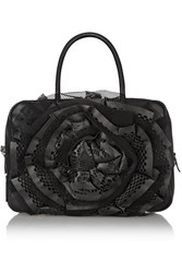 Valentino Rosette Embellished Leather Shoulder Bag Black