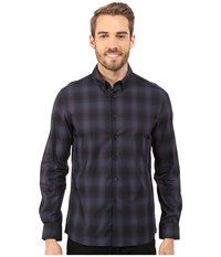 Long Sleeve Button Down Collar Slim Ombre Plaid Dark Ocean Combo Men's Long Sleeve Button Up Black