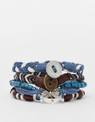 Asos Leather Bracelet Pack With Nautical Charms In Blue Brown