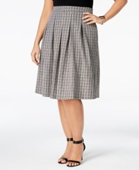 Ny Collection Plus Size Check Print Pleated Fit And Flare Skirt Noir Checked