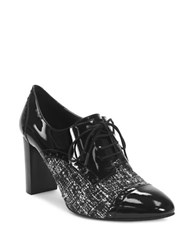Tahari Evo Patent Leather Tie Up Oxfords Black