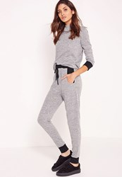 Missguided Contrast Trim Joggers Grey Grey