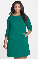 Plus Size Women's Eliza J Pocket Detail Shift Dress Green