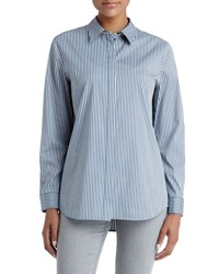 Lafayette 148 New York Brody Striped Long Sleeve Top Blue Storm
