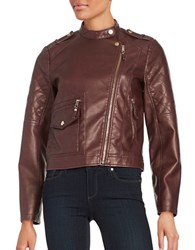 Design Lab Lord And Taylor Faux Leather Moto Jacket Burgundy