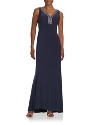 Patra Embellished Cowlback Gown Navy