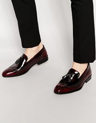 Asos Brogue Loafers In Burgundy Leather With Tassel Burgundy